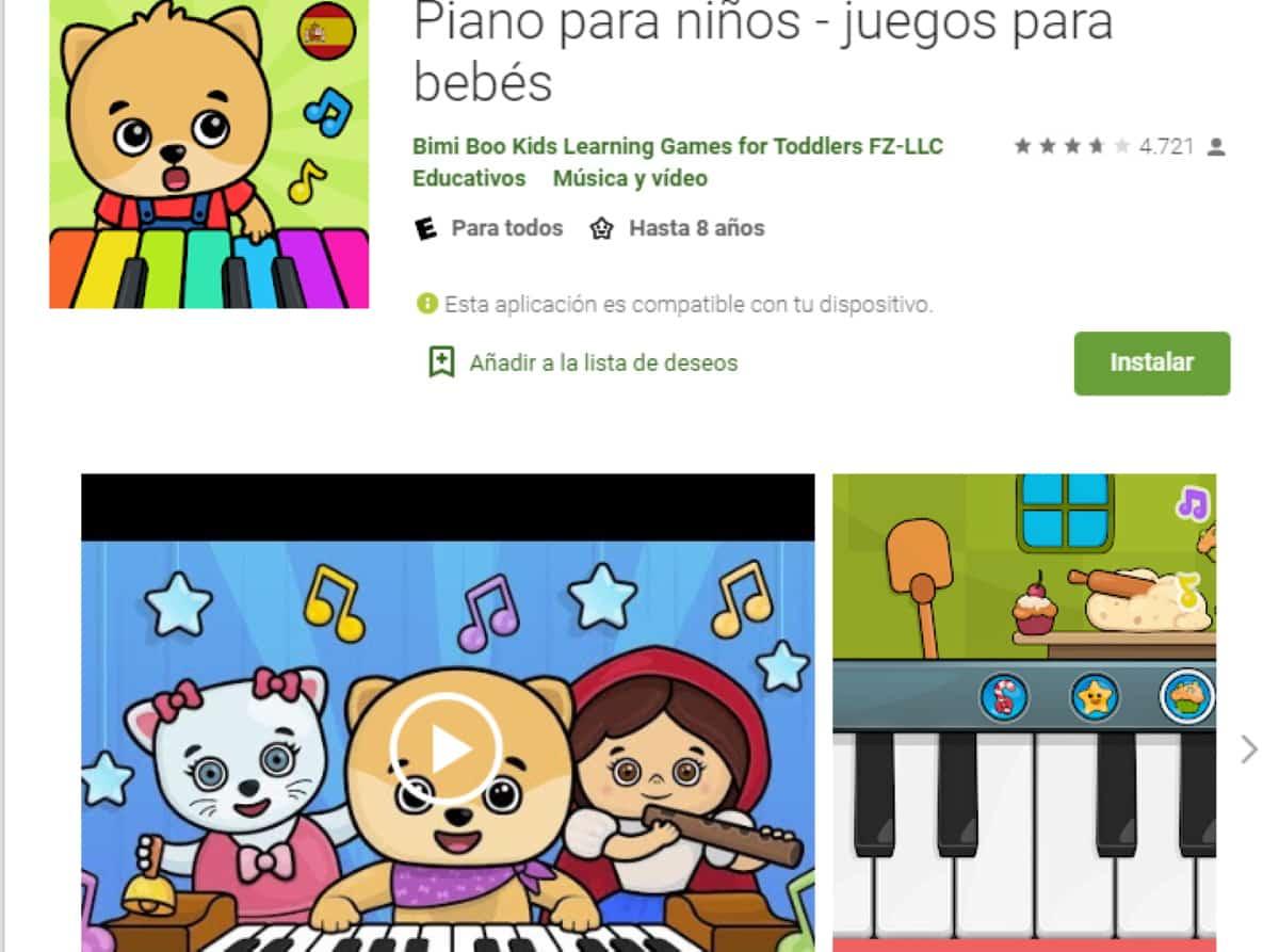 app de juegos para ninos piano