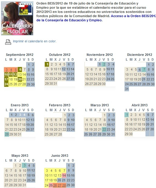 Calendario Academico Madrid.Calendario Escolar Curso 2012 2013 Comunidad De Madrid Educacion 2 0