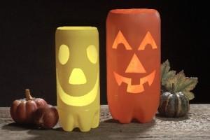 crear adornos halloween con botellas plastico