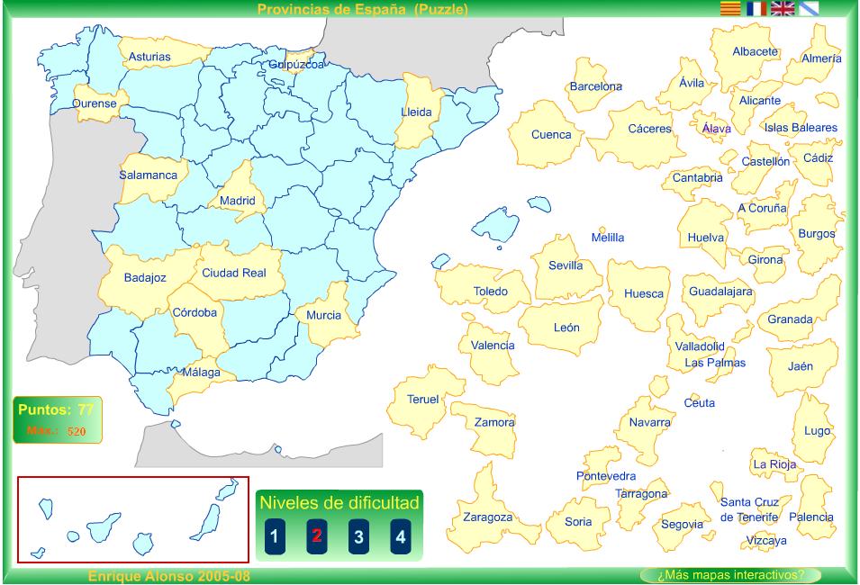 Mapa Flash Provincias España.Estudiando La Geografia Espanola Con Mapas Interactivos